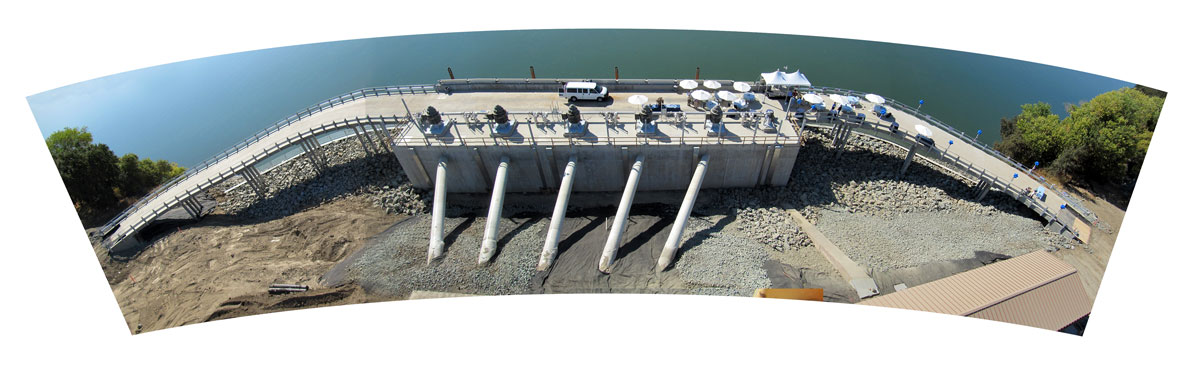 The new fish screened water diversion plant on the Sacramento River near Verona.