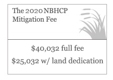 The 2020 NBHCP Mitigation Fee: $40,032 full fee; $25,032 with land dedication