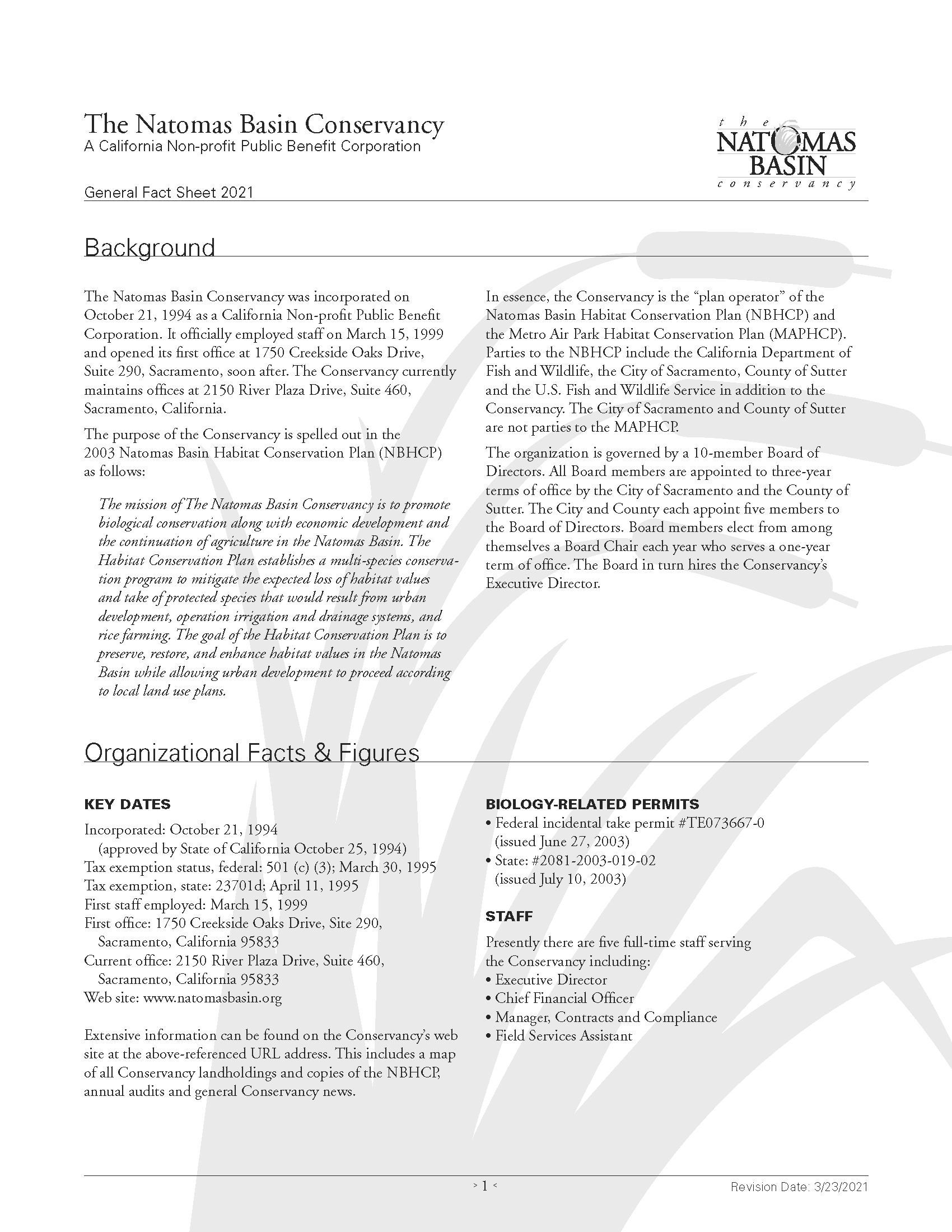 Download the Natomas Basin Conservancy's General Fact Sheet in PDF format.
